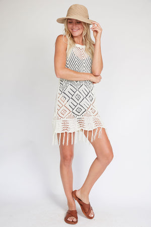 Load image into Gallery viewer, Allison New York Crochet Fringe Trim Coverup