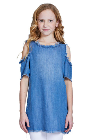 Pinc Chambray Cold Shoulder Tunic