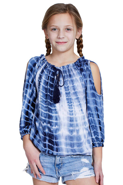 Pinc Navy Tie Dye Cold Shoulder Top