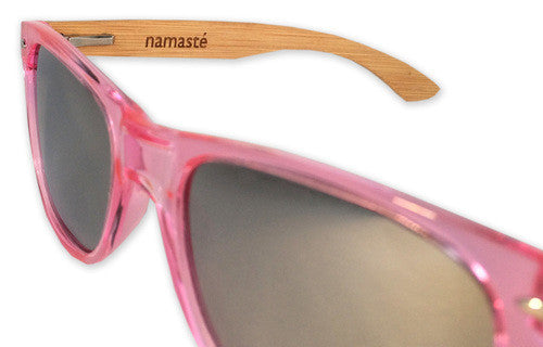 Vira Sun Warrior Translucent Pink Silver Lenses Bamboo Arms Sunglasses