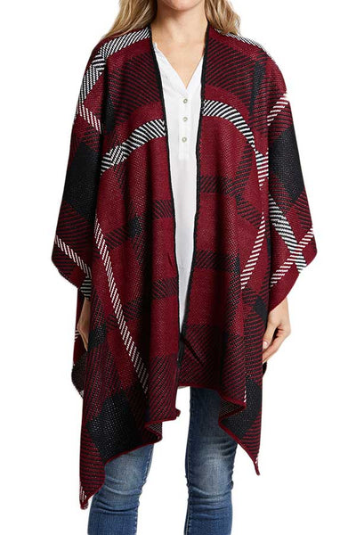 Plaid Sweater Poncho Wrap