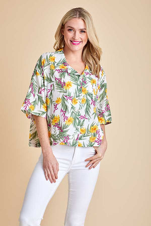 Load image into Gallery viewer, Pol Short Sleeve Button Down Palm Print Shirt