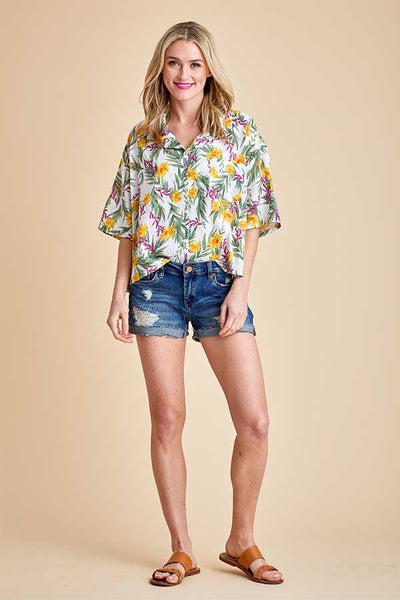 Pol Short Sleeve Button Down Palm Print Shirt