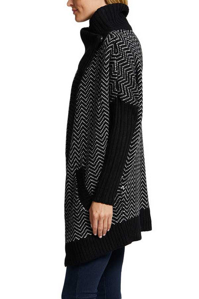 RD Style Black/White Patterned Cable Cardigan