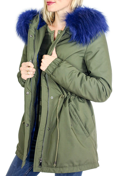 RD Style Blue Faux Fur Hooded Trim Anorak Jacket