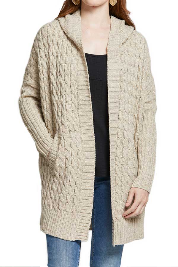 RD Style Cable Hooded Cardigan