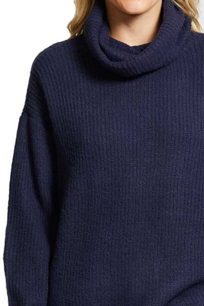 RD Style Oversized Turtleneck Marine Blue Sweater