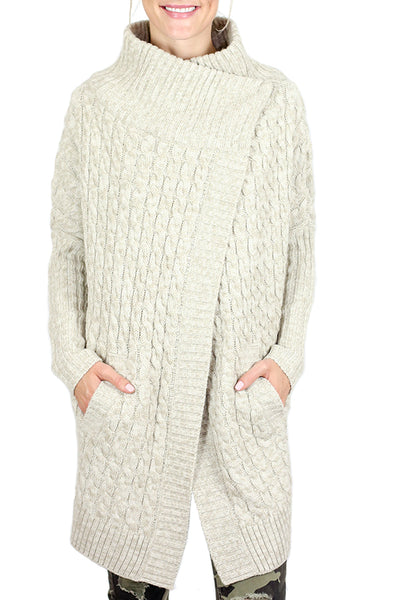 RD Style Cable Sweater Coat (2 Colors: Oatmeal and Navy)