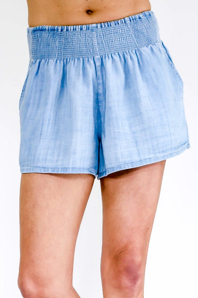 RD Style Smocked Waist Chambray Shorts