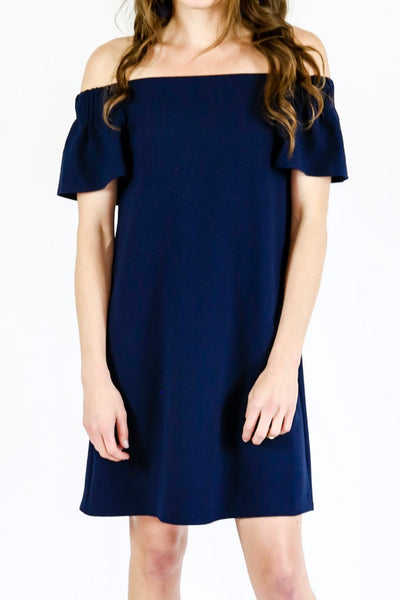 RD Style Navy Off The Shoulder Dress