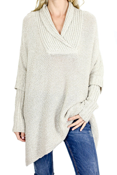 RD Style Poncho Side Lace Up Sweater