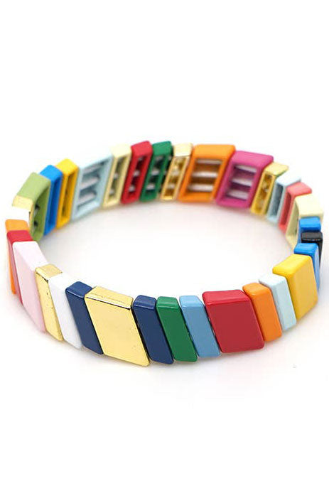Load image into Gallery viewer, Blok Rainbow Diagonal Tile Bracelet