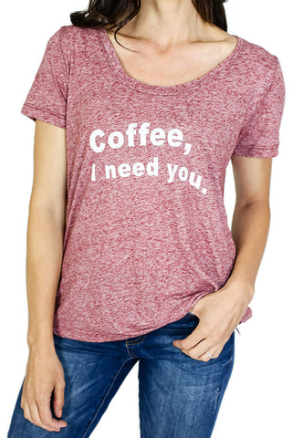 "Retro Brand ""Coffee I Need You"" Graphic Tee"