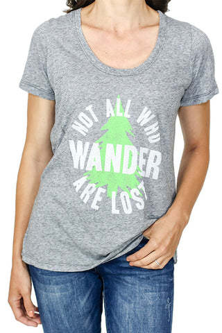 "Retro Brand ""Not All Who Wander are Lost"" Graphic Tee"