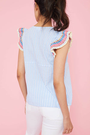 THML Pinstripe Embroidered Ruffle Sleeve Top