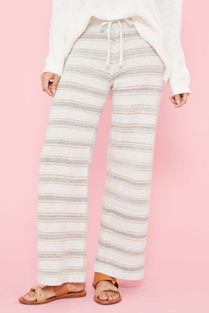 Load image into Gallery viewer, Hem and Thread Striped Wide Leg Pant