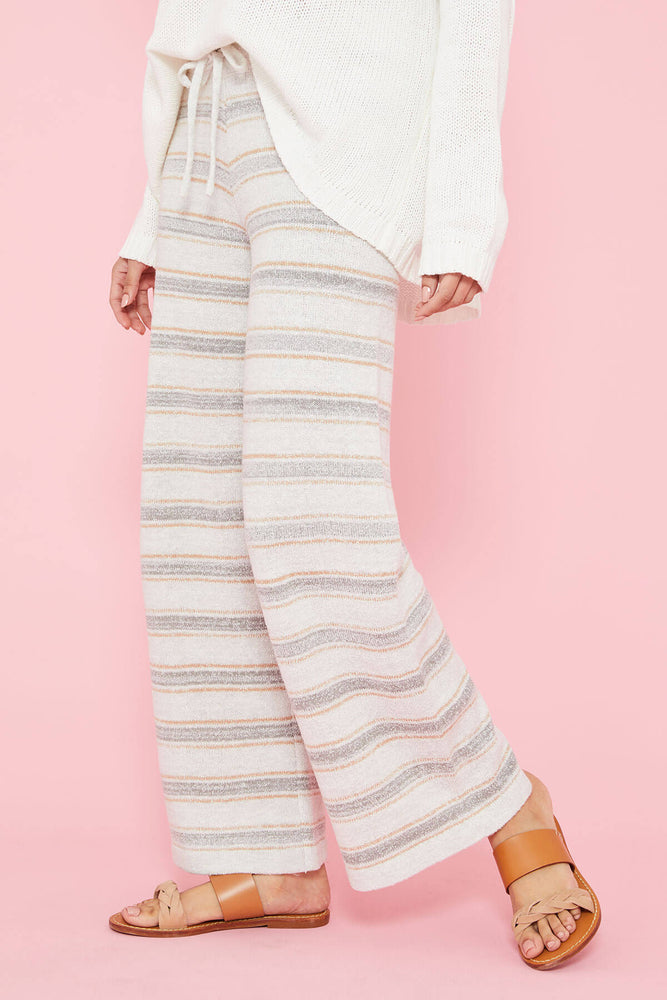 Hem and Thread Striped Wide Leg Pant
