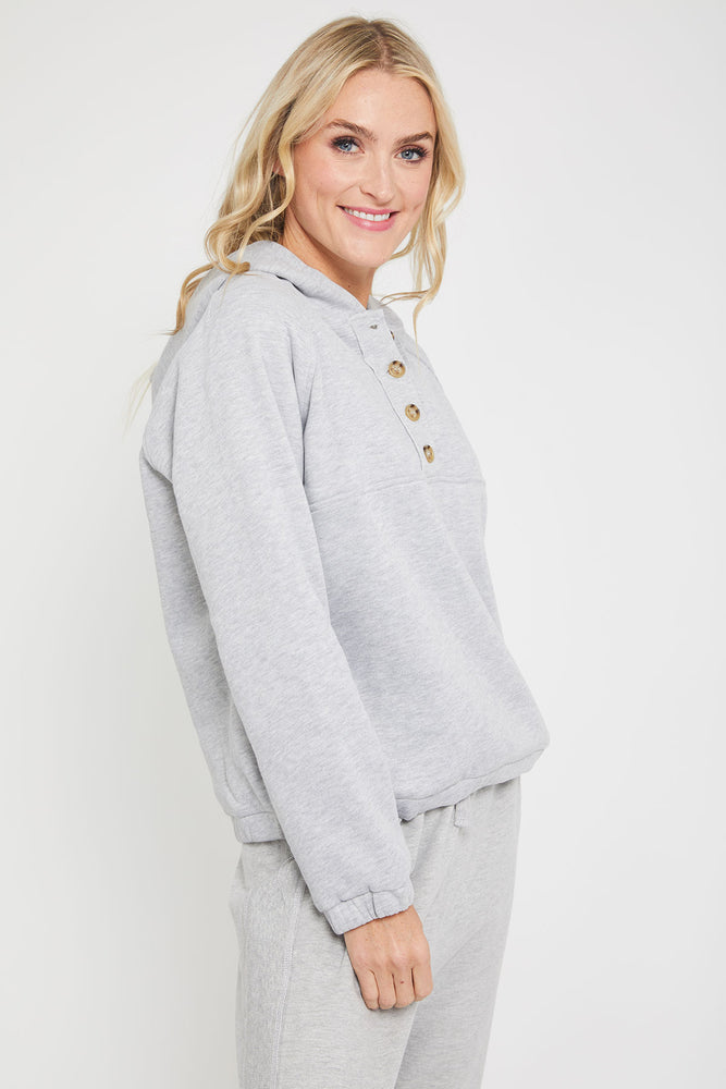 Hem and Thread Button Front Hoodie Pullover