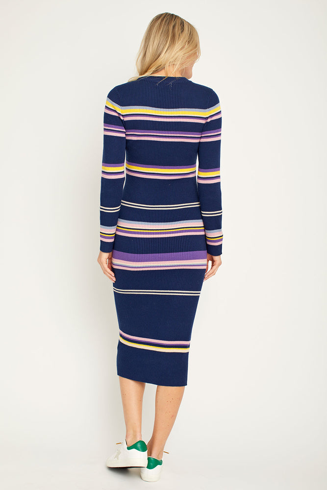 All Row Long Sleeve Striped Knit Dress