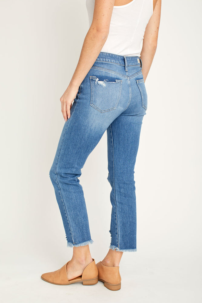 LTJ Straight Leg Mid Rise Distressed Jeans
