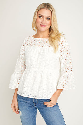 Mustard Seed Eyelet Tiered Top
