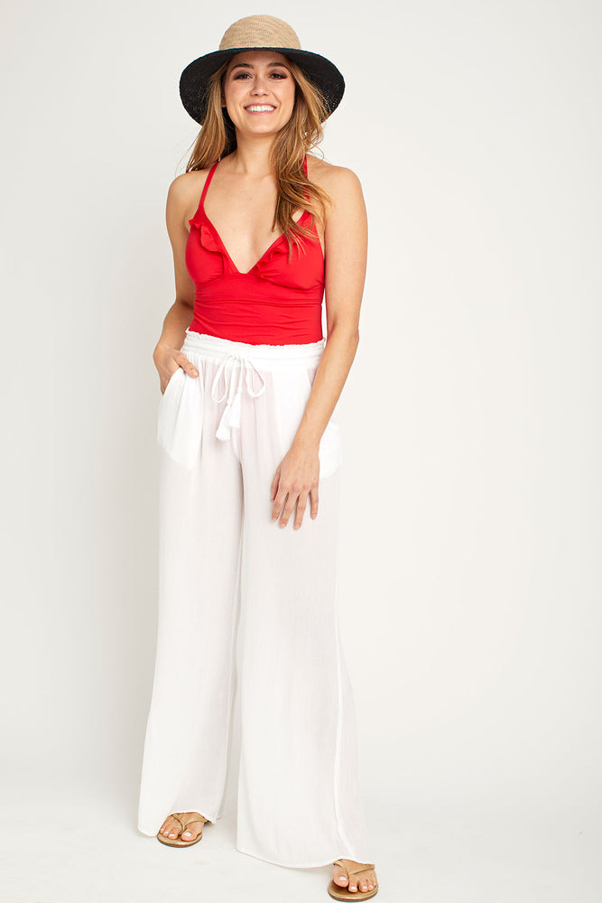 Elan Smocked Waist Solid Beach Pants (available in black and white)