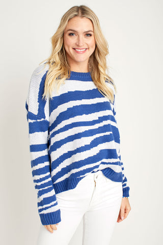 Six Fifty Cobalt Zebra Sweater