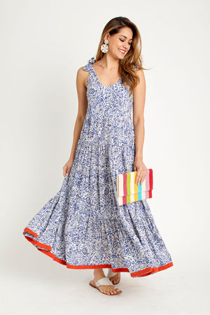 THML Tie Shoulder Printed Maxi Dress