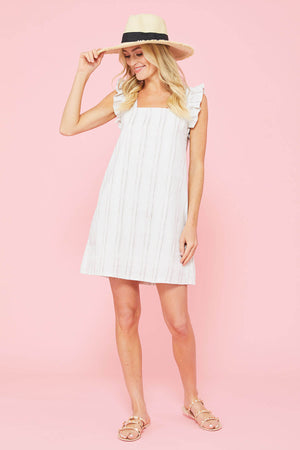 Ellison Ruffle Sleeve Stripe Dress