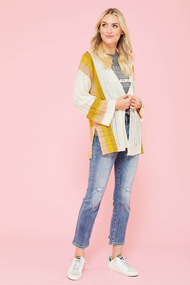 Mystree Colorblock Cardigan
