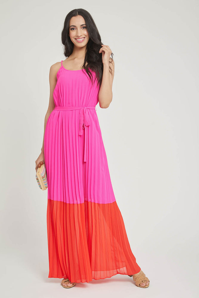 Skies Are Blue Pleated Maxi Dress