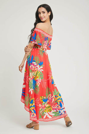 Load image into Gallery viewer, Flying Tomato Printed Off Shoulder Hi Low Dress