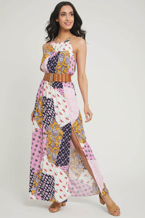 Load image into Gallery viewer, Promesa Patchwork Halter Dress