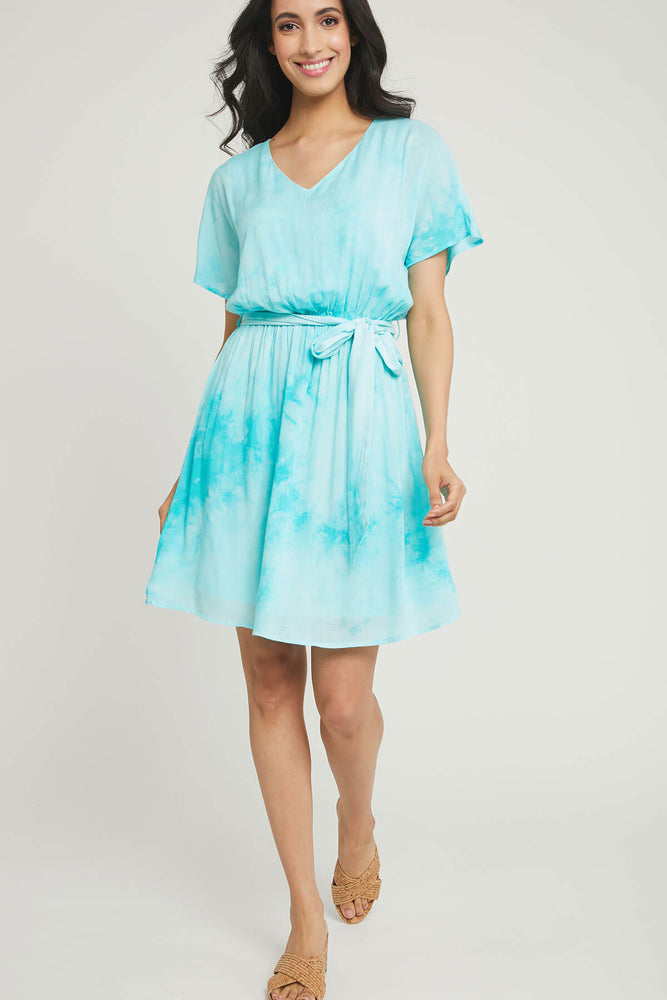 Load image into Gallery viewer, Andree by Unit Tie Dye Tie Waist Dress