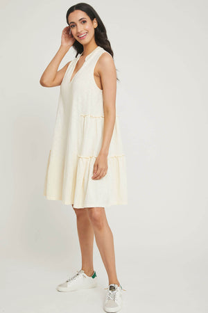 Lush Ruffle Trim Cotton Slub Dress