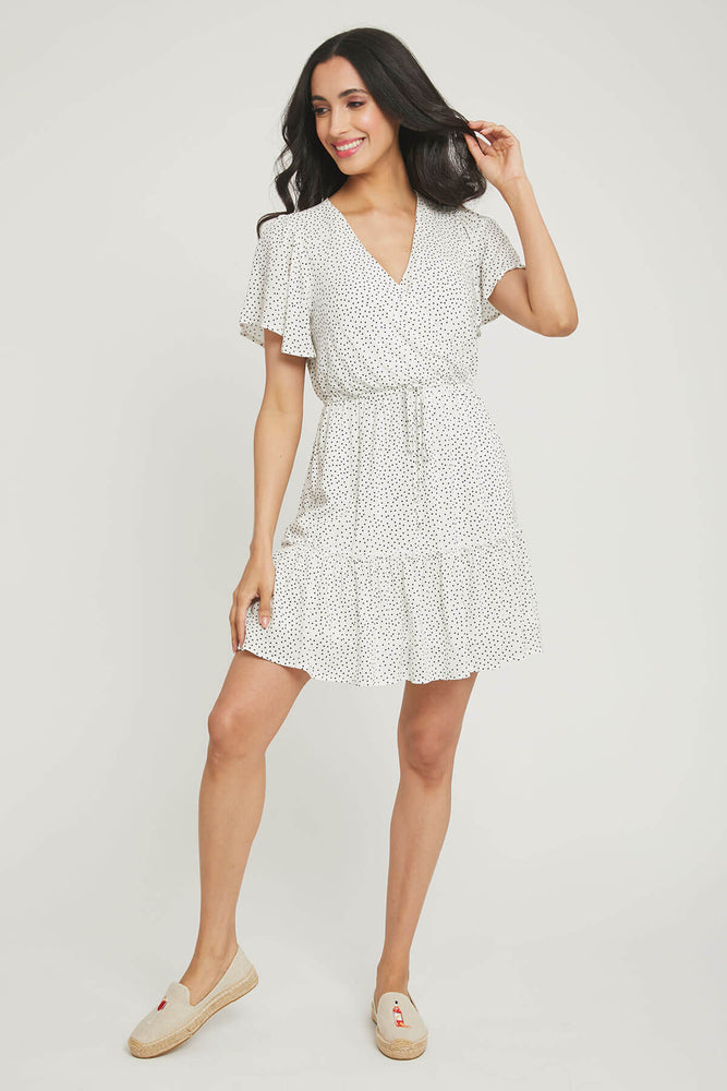 Load image into Gallery viewer, Andree by Unit Polka Dot Faux Wrap Dress
