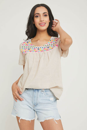 Savanna Jane Striped Embroidered Top