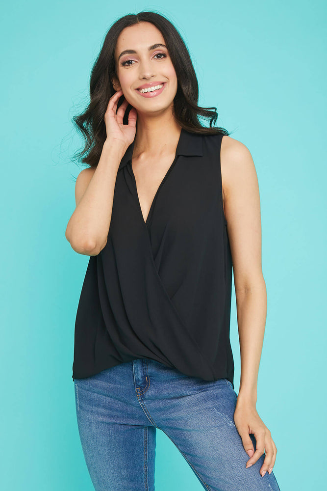 Lush Surplice Sleeveless Top