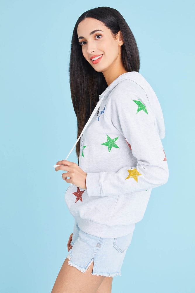 Hem and Thread Star Print Zip Hoodie
