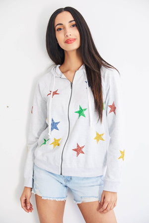 Load image into Gallery viewer, Hem and Thread Star Print Zip Hoodie