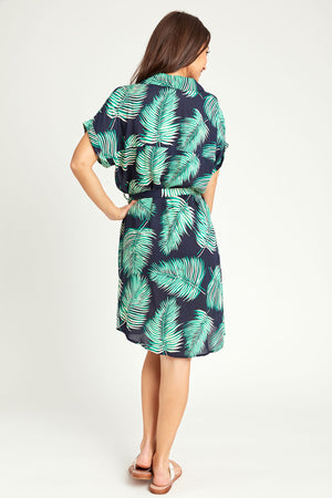 Dress Forum Button Front Palm Print Shirt Dress