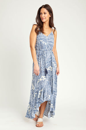 Load image into Gallery viewer, Love Stitch Scarf Print High Low Maxi Dress