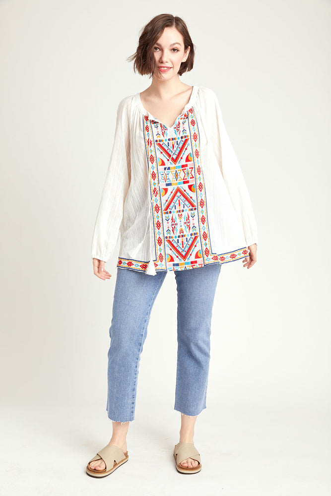 Andree by Unit Embroidered Long Sleeve Tunic Top (Plus Size)