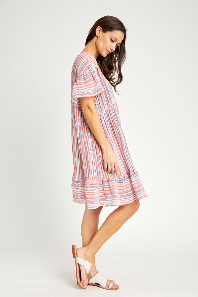 Load image into Gallery viewer, Love Stitch Textured Ruffle Sleeve V-neck Lurex Stripe Coverup