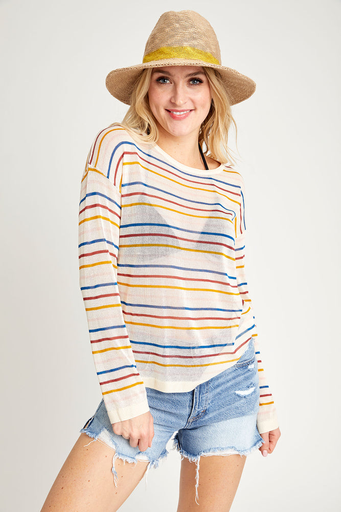 Hem and Thread Sheer Rainbow Striped Sweater