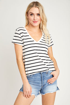 Z Supply Dessert Stripe V-neck T-shirt