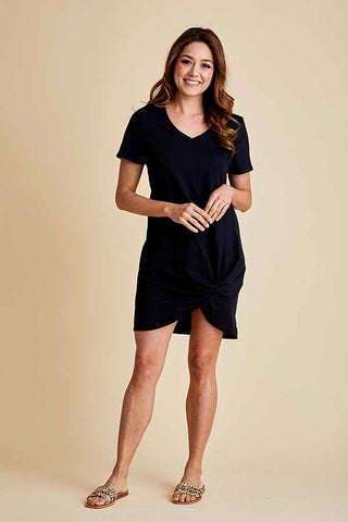 RD Style Short Sleeve Knot Front Jersey Dress