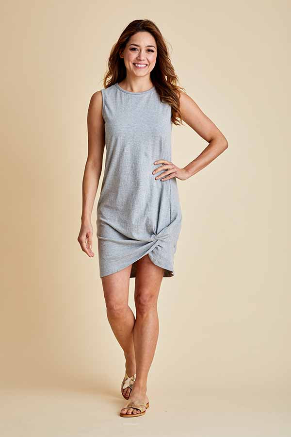 RD Style Sleeveless Knot Front Jersey Dress