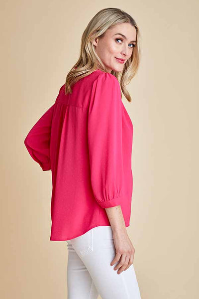 Skies Are Blue 3/4 Sleeve Ruffled Vneck Top
