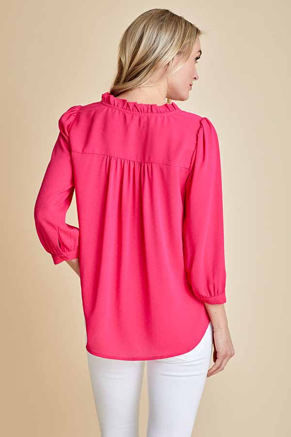 Load image into Gallery viewer, Skies Are Blue 3/4 Sleeve Ruffled Vneck Top